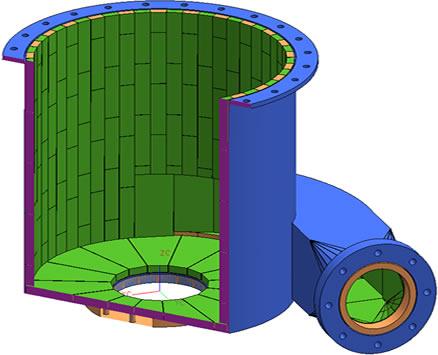 Трёхмерная модель размещения футеровки Alotec
