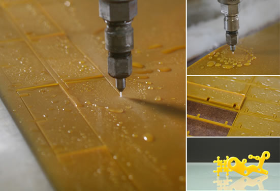 Пример использование машины водной резки для изготовления изделий из листового полиуретана