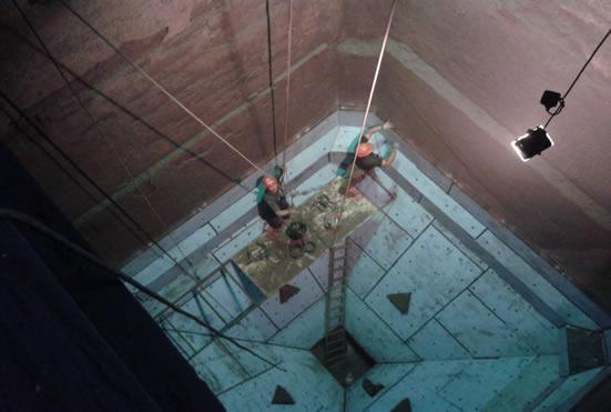 Монтаж Tivar BlueLine в бункере рядовых углей